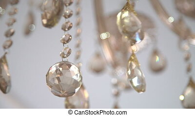 Crystal chandelier. Big classic crystal background in full...