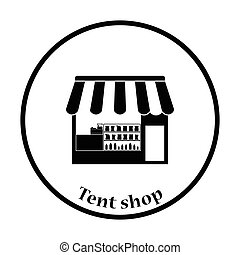 Tent shop icon. Thin circle design. Vector illustration.