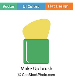 Make Up brush icon Flat color design Vector illustration