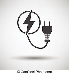 Electric plug icon on gray background, round shadow. Vector...