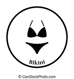 Bikini icon. Thin circle design. Vector illustration.