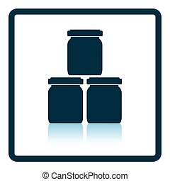 Baby glass jars icon Shadow reflection design Vector...