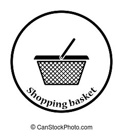 Shopping basket icon Thin circle design Vector illustration...