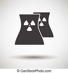 Nuclear station icon on gray background, round shadow....
