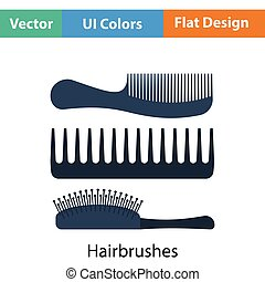 Hairbrush icon Flat color design Vector illustration
