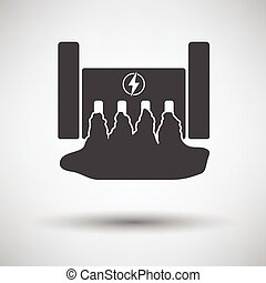 Hydro power station icon on gray background, round shadow...