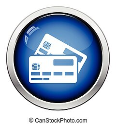 Credit card icon. Glossy button design. Vector illustration.