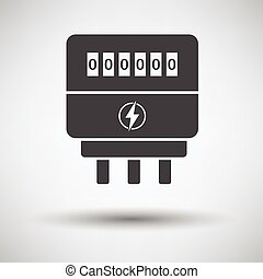 Electric meter icon on gray background, round shadow Vector...