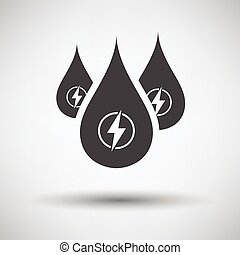 Hydro energy drops icon on gray background, round shadow...