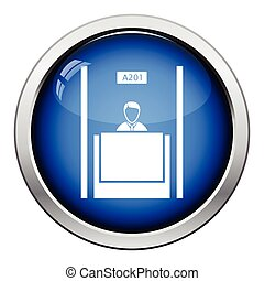Bank clerk icon Glossy button design Vector illustration