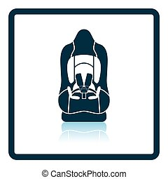 Baby car seat icon Shadow reflection design Vector...