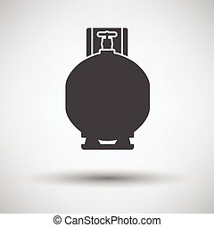 Gas cylinder icon on gray background, round shadow Vector...