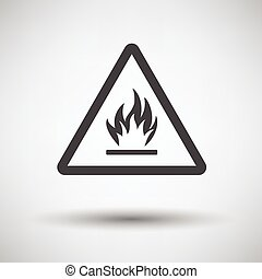 Flammable icon on gray background, round shadow Vector...