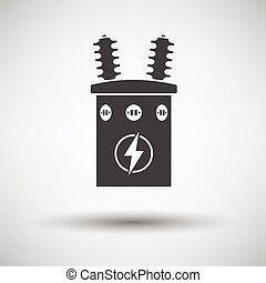 Electric transformer icon on gray background, round shadow...
