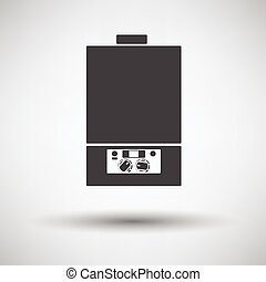 Gas boiler icon on gray background, round shadow Vector...