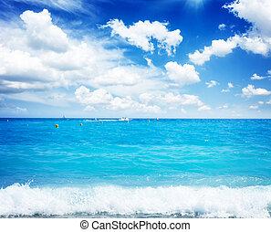 cote dAzur, France - turquiose water of cote dAzur under...