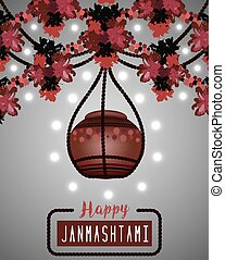 Illustration of hanging dahi handi - Happy Janmashtami...