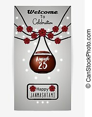 Illustration of hanging dahi handi. Template for flyer or...