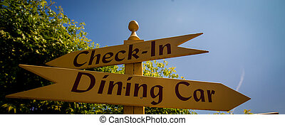 dining car sign - Wooden arrow pointing dining car sign and...