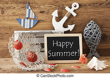 Chalkboard With Nautical Decoration, Text Happy Summer
