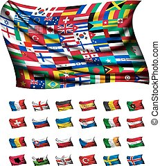 Huge flag, consisting of different countries Vector