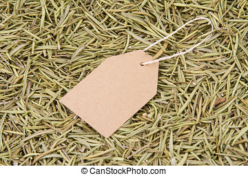 dried rosemary - paper label on dried rosemary