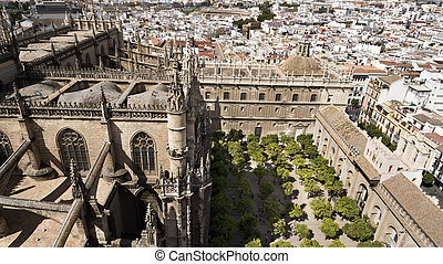 View of the Cathedral of Seville, the capital and largest...