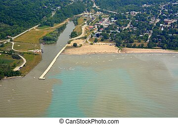 Port Burwell aerial - aerial view of Port Burwell a...