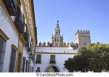 Seville La Giralda - View of The Giralda, the bell tower of...