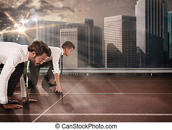 Business competition - Business men competing in a race...