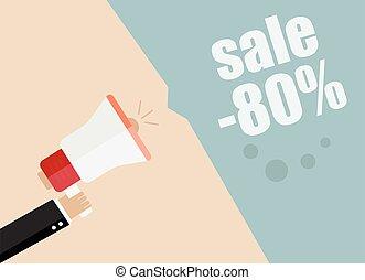 Sale. Businessman hand holding a megaphone, News and speech...