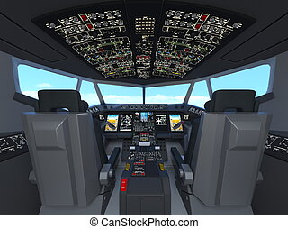 Cockpit - 3D CG rendering of cockpit