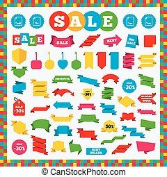 Document signs. File extensions symbols. - Banners, sale...