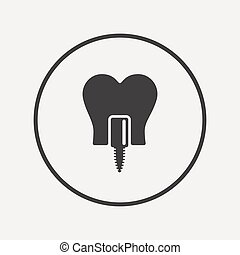 Tooth implant sign icon Dental care symbol Flat implant icon...