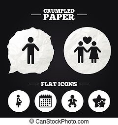 Family lifetime icons Couple love and pregnancy - Crumpled...