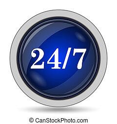 24 7 icon. Internet button on white background.