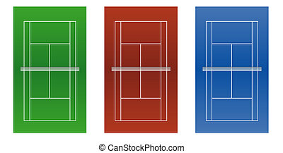 Tennis courts - Stylized graphics of all three typical court...