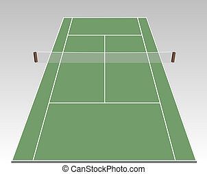 Tennis court - A stylized tennis court showing all relevant...