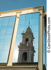 Salta cathedrasl - Salta cathedral reflected in the mirrored...