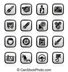 Car part and services icons - vector icon set