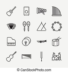 Music instrument icons outline vector illustration