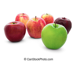 Group of apples varieties Isolate on White