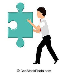Puzzle and businessman icon Piece of game design Vector...