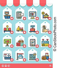 icon set airport vector