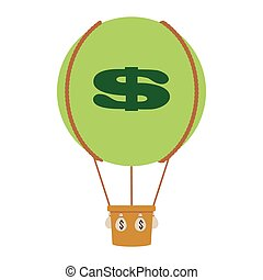 hot air balloon with dollar sign icon