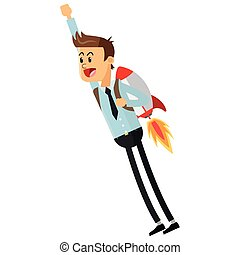 flying businessman with jetpack icon