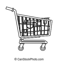 shopping cart with bags inside icon