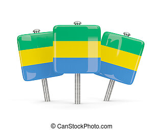 Flag of gabon, three square pins 3D illustration
