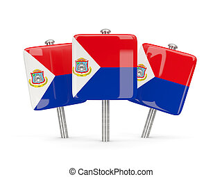 Flag of sint maarten, three square pins 3D illustration