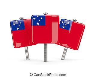bandiera, di, Samoa, Tre, quadrato, piolini,